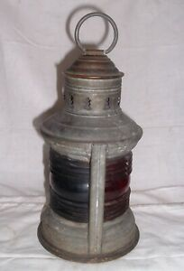 Antique Nautical Ships Oil Lamp Dated 1913 Green Red Lenses National Marine Co