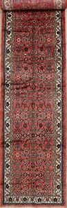 17 Long Runner Hamedan Persian Runner Rug 16 9 X 3 9 Hand Knotted Red Wool