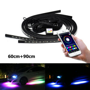 4 Led Under Car Tube Strip Underglow Body Neon Light Kit App Phone Control Rgb