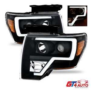Black Headlights Pair With Led Bar Drl For 2009 2014 Ford F150
