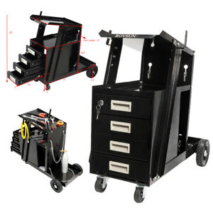 Welder Welding Cart Plasma Cutter Mig Tig Arc Tank Storage With 4 Drawers