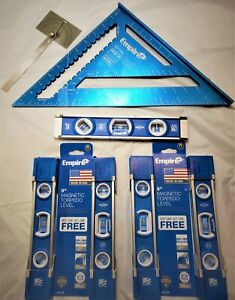 Lot Empire 9 In Magnetic Torpedo Level True Blue High Definition Rafter Square