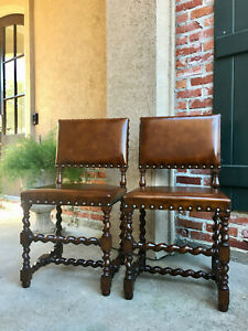 Pair Set Of 2 Antique English Oak Barley Twist Dining Side Chair Brown Leather B