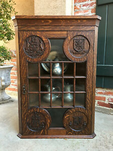 Antique English Carved Oak Corner Wall Cabinet Oxford Nottingham Coat Of Arms