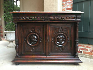 Antique French Carved Oak Sideboard Server Cabinet Marble Renaissance Gothic