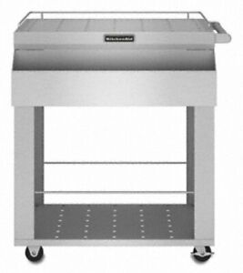 Kitchenaid Kfbu271tss 26 1 4 Stainless Steel Serving Cart With Utility Bin