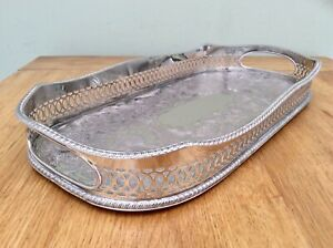 Superb Sheffield Silver On Copper Chased Rise Fall Cocktail Gallery Tray C1920