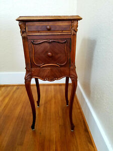 Antique French Louis Xv Marble Top Stand Bedside Table