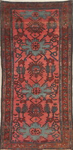 Pre 1900 Antique Vegetable Dye Sarouk Persian Runner Hand Knotted 3 X6 Wool Rug