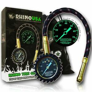 Rhino Usa Heavy Duty Tire Pressure Gauge 0 75 Psi Certified Ansi B40 1 Accu