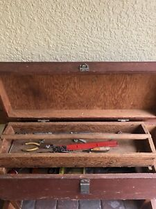 Antique Large Wood Wooden Carpenters With Tools Box Chest Nice Size 33x12x12