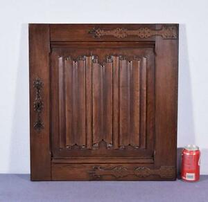 Gothic Carved Architectural Door Panel In Solid Oak Wood W Linenfold Carving