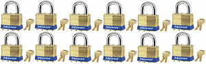 Lock Set By Master Brass 4ka lot Of 12 Keyed Alike Matching Same Identical