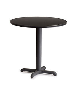 Restaurant Laminated Double Sided Wood Commercial Tables 42 Round Iron Base