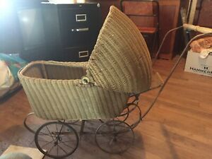 Lloyd Loom Antique Wicker Baby Or Doll Carriage Stroller With Adjustable Canopy