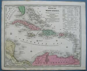 1839 Antique Smith Atlas Map West Indies W Pro D Panama Canal Tbl Colonial Poss