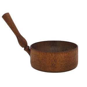 Antique Shaker Style Turned Wooden Bowl With Handle Mortar Or Measuring Cup
