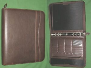Folio 1 0 Brown Faux Leather Day Timer Planner Binder Franklin Covey Monarch