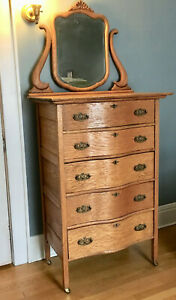 Antique Vintage Tall Oak Dresser With Mirror Ny Pick Up