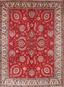Red 10x13 Vintage Persian Area Rugs All Over Floral Hand Knotted Wool Large Rug