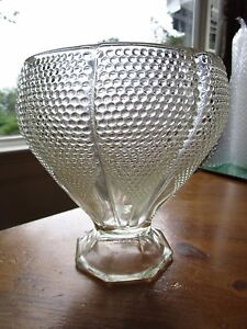 Antique Clear Glass Vase Dotted Hobnail 7 5 Tall X 7 Wide Natlot