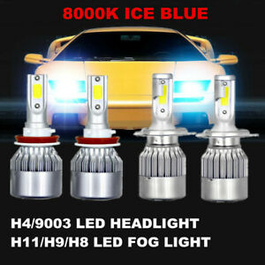 Cob H4 Led Headlight H11 Fog Bulbs Ice Blue 8000k For Honda Cr v Fit 2007 14
