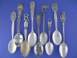 9 Antique Sterling Silver Souvenir Spoons Variety Lot Ornate