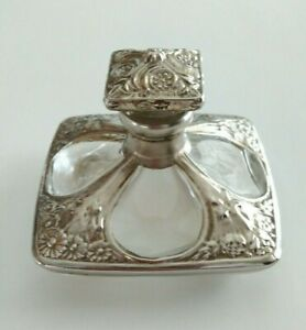 Anitque Perfume Bottle With Silver Overlay Beautiful Rare And Unusual Shape