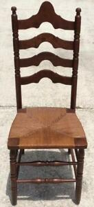 Antique Ladderback Ladder Slat Back Chair Rush Seat Early American Colonial