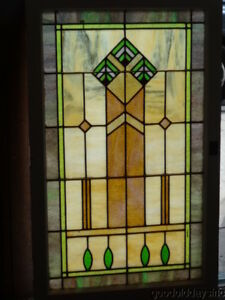 Colorful Pair Of 1920 S Chicago Stained Glass Windows 28 Wide X 46 Tall
