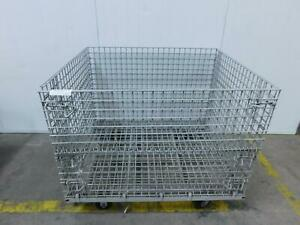 41 X 47 X 38 1 2 Folding Wire Basket collapsible Bulk Container T128452