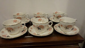 6 Sets Tunstall Clovelly Royal Stafford Cups Saucers