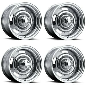 Set 4 15 Vision 57 Rally Chrome Wheel 15x7 5x4 5 5x4 75 6mm Ford Chevy 5 Lug