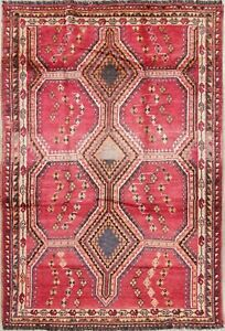 Antique Magenta Pink 6x8 Lori Persian Area Rugs Tribal Hand Knotted Wool Carpet