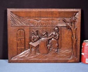 French Antique Carved Panel Solid Oak Wood With People Drinking And Dancing