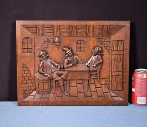French Antique Carved Panel Solid Oak Wood With People Drinking