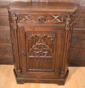 Antique French Gothic Revival Side End Table Cabinet Stand Console In Oak