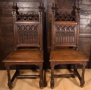 Pair Of Antique Gothic Revival Dining Side Chairs In Solid Oak Wood
