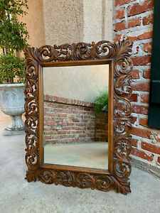 Antique French Carved Oak Frame Wall Mirror Louis Xv Renaissance Large