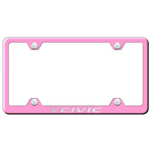 Honda Civic On Pink Wide Body License Plate Frame Officially Licensed