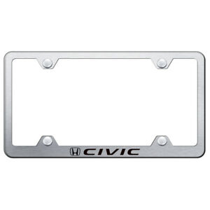 Honda Civic On Brushed Wide Body License Plate Frame Officially Licensed