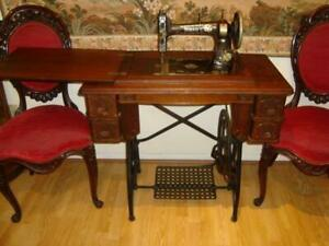 Rare Antique White Treadle Sewing Machine 4 Ornate Drawers Inlaid Details