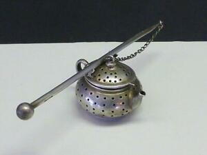 Vintage Teapot Teaball Tea Ball Stainer Infuser W Handle Watson Sterling Silver