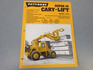 Rare Pettibone Cary Lift Super 10 Sales Sheet