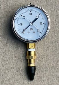 Drip Irrigation Pressure Testing Tool With 60 Psi Liquid Filled Gauge