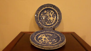 4 Antique 1900s Blue White Allertons England Chinese Willow 7 3 4 Plates
