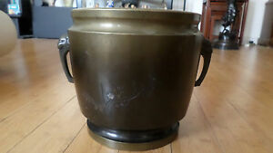 Large 19th C Japanese Bronze Jardiniere Planter With Breast Head Handles