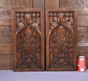 Pair Of Antique French Gothic Revival Oak Wood Panels Woodcarvings