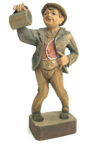 Vtg Hand Carved In Italy Wood Drunk Man In Suit And Hat Figure