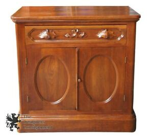 1870s Antique Victorian Walnut Dresser Hand Carved Handles Nightstand Cabinet
